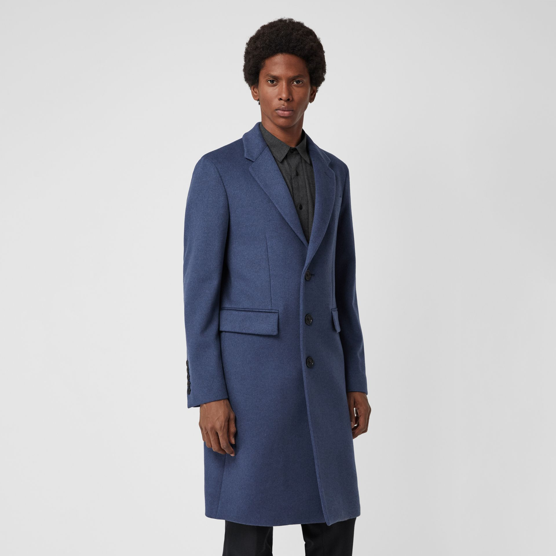 Wool Cashmere Tailored Coat in Dark Canvas Blue - Men | Burberry United Kingdom - gallery image 4