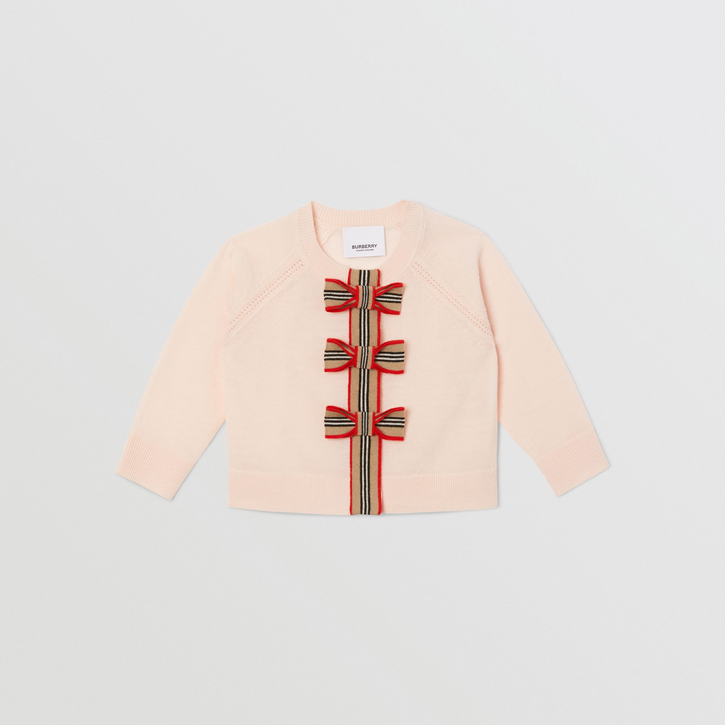 Icon Stripe Trim Merino Wool Two-piece Set in Soft Pink - Children | Burberry - 1