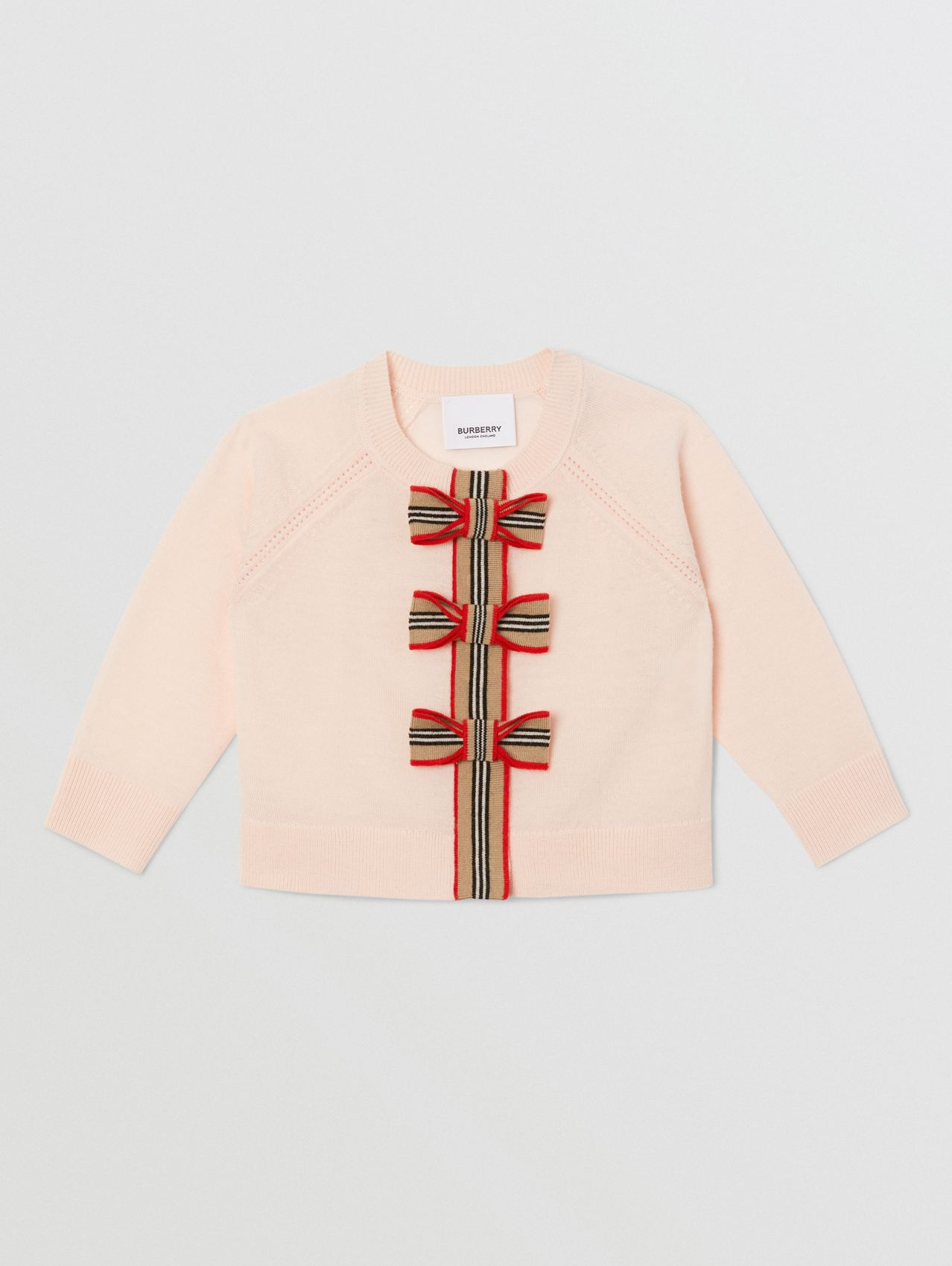 Icon Stripe Trim Merino Wool Two-piece Set in Soft Pink