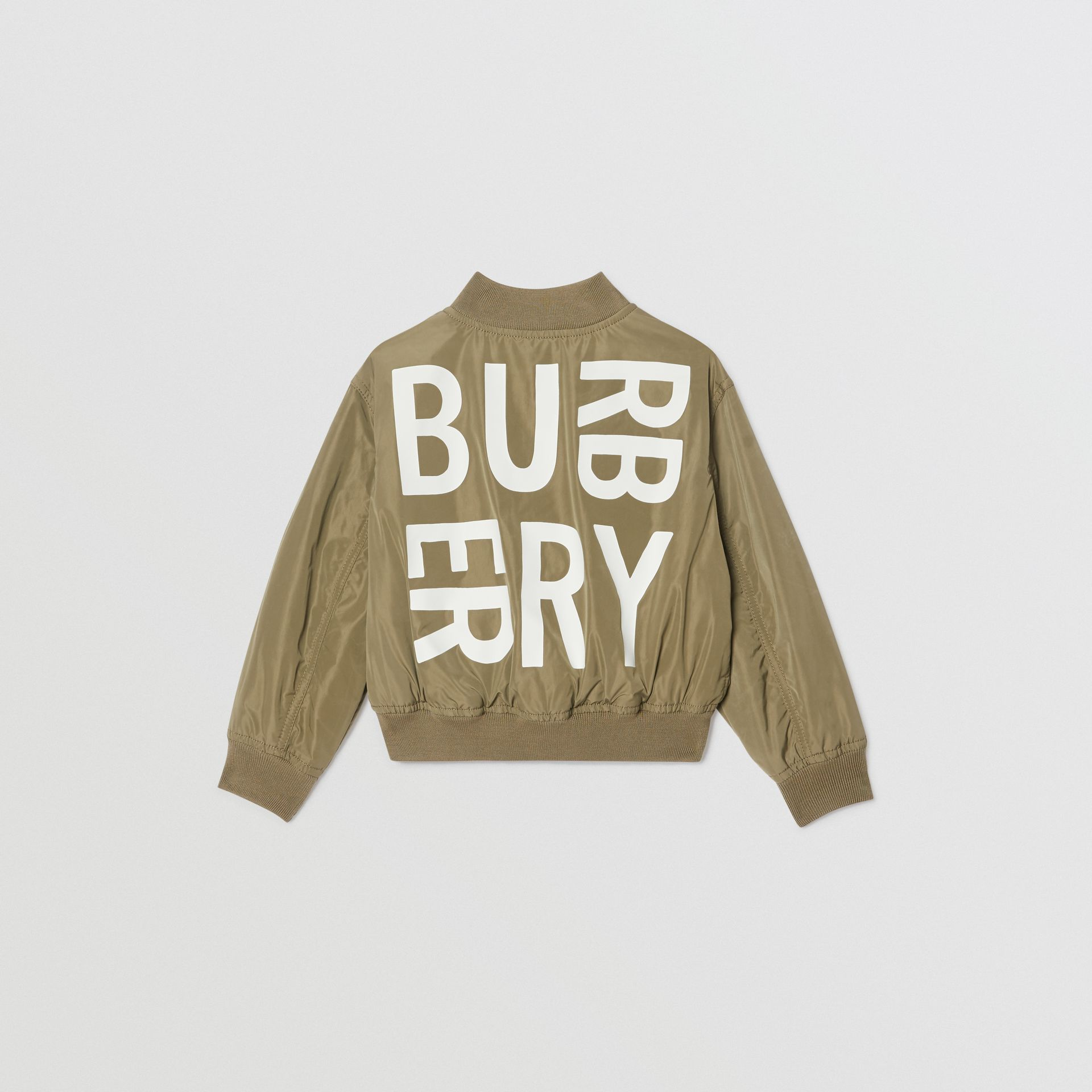 Logo Print Shape-memory Taffeta Bomber Jacket in Khaki - Children | Burberry - gallery image 4