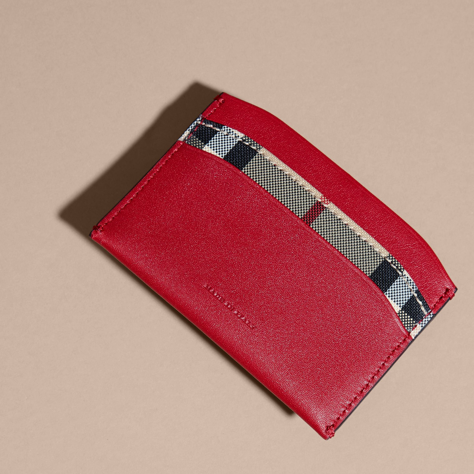 Check and Leather Card Case in Parade Red - Women | Burberry Canada - gallery image 4