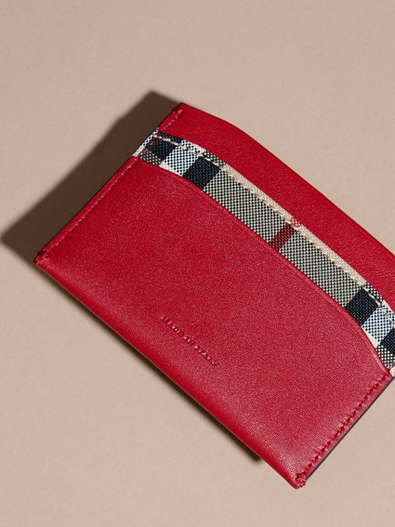 Check and Leather Card Case in Parade Red - Women | Burberry - cell image 3