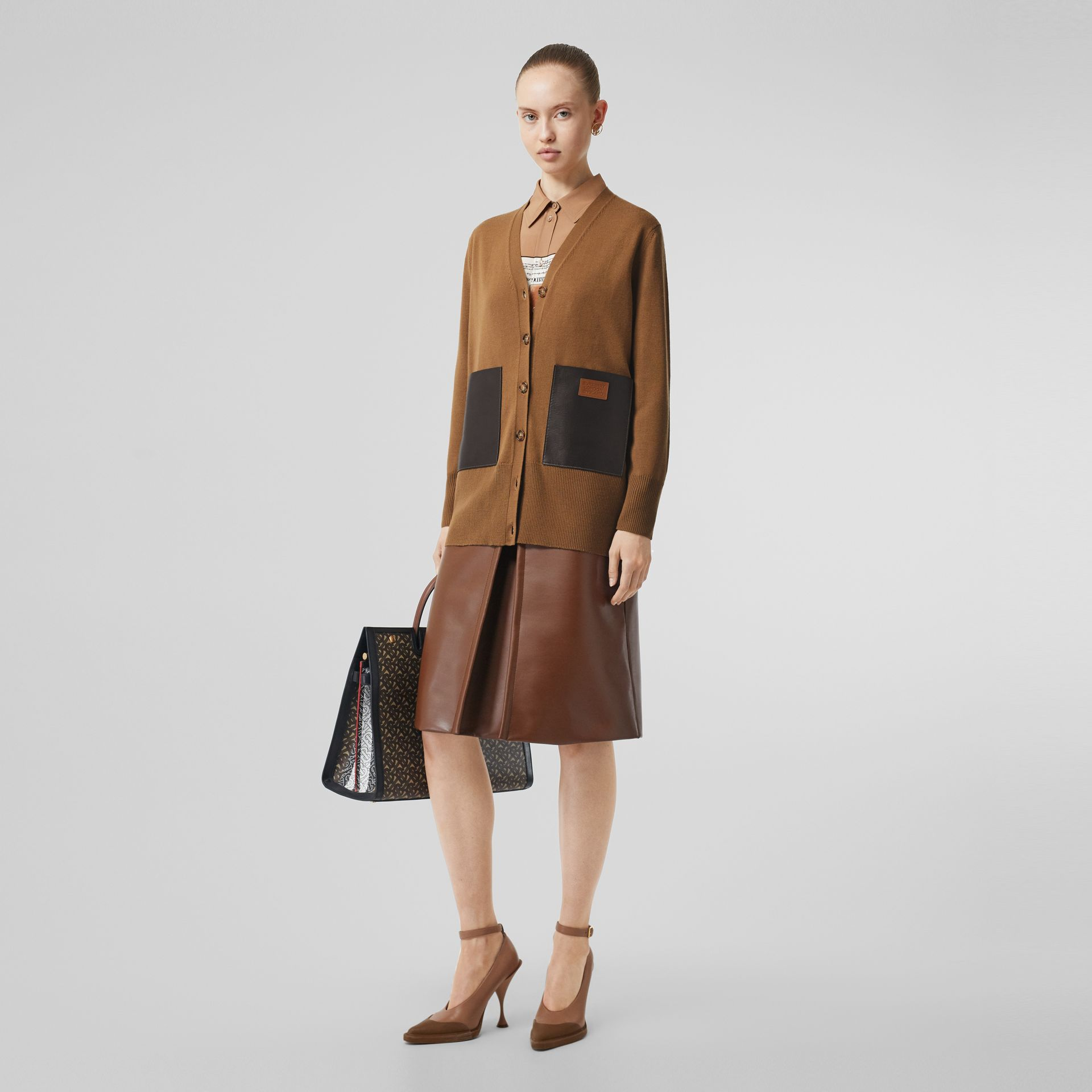 Lambskin Pocket Merino Wool Cardigan in Warm Walnut - Women | Burberry - gallery image 0