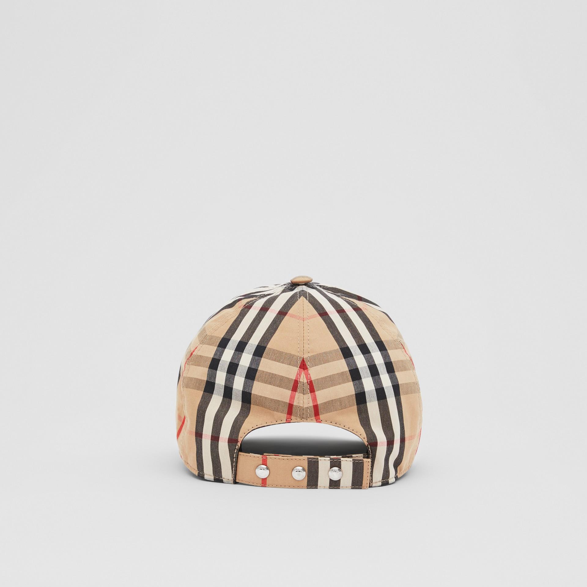 Monogram Motif Vintage Check Cotton Baseball Cap in Archive Beige | Burberry United Kingdom - gallery image 6