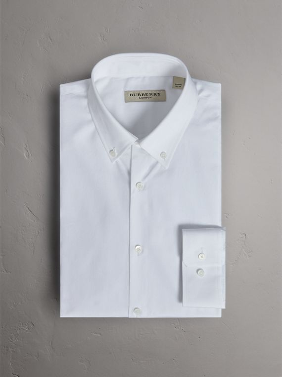 Modern Fit Button-down Collar Cotton Poplin Shirt in White - Men | Burberry - cell image 3