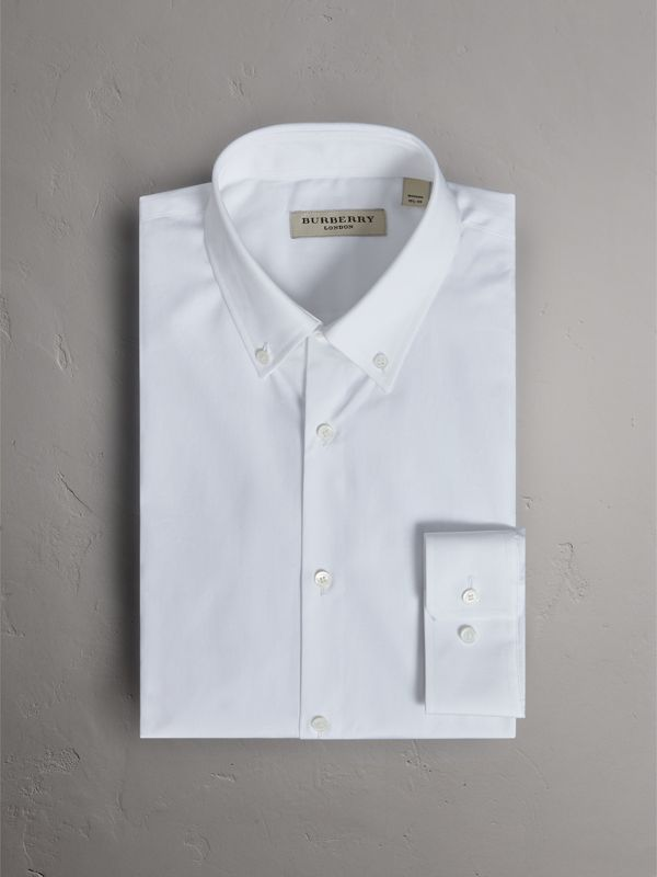 Modern Fit Button-down Collar Cotton Poplin Shirt in White - Men | Burberry United Kingdom - cell image 3