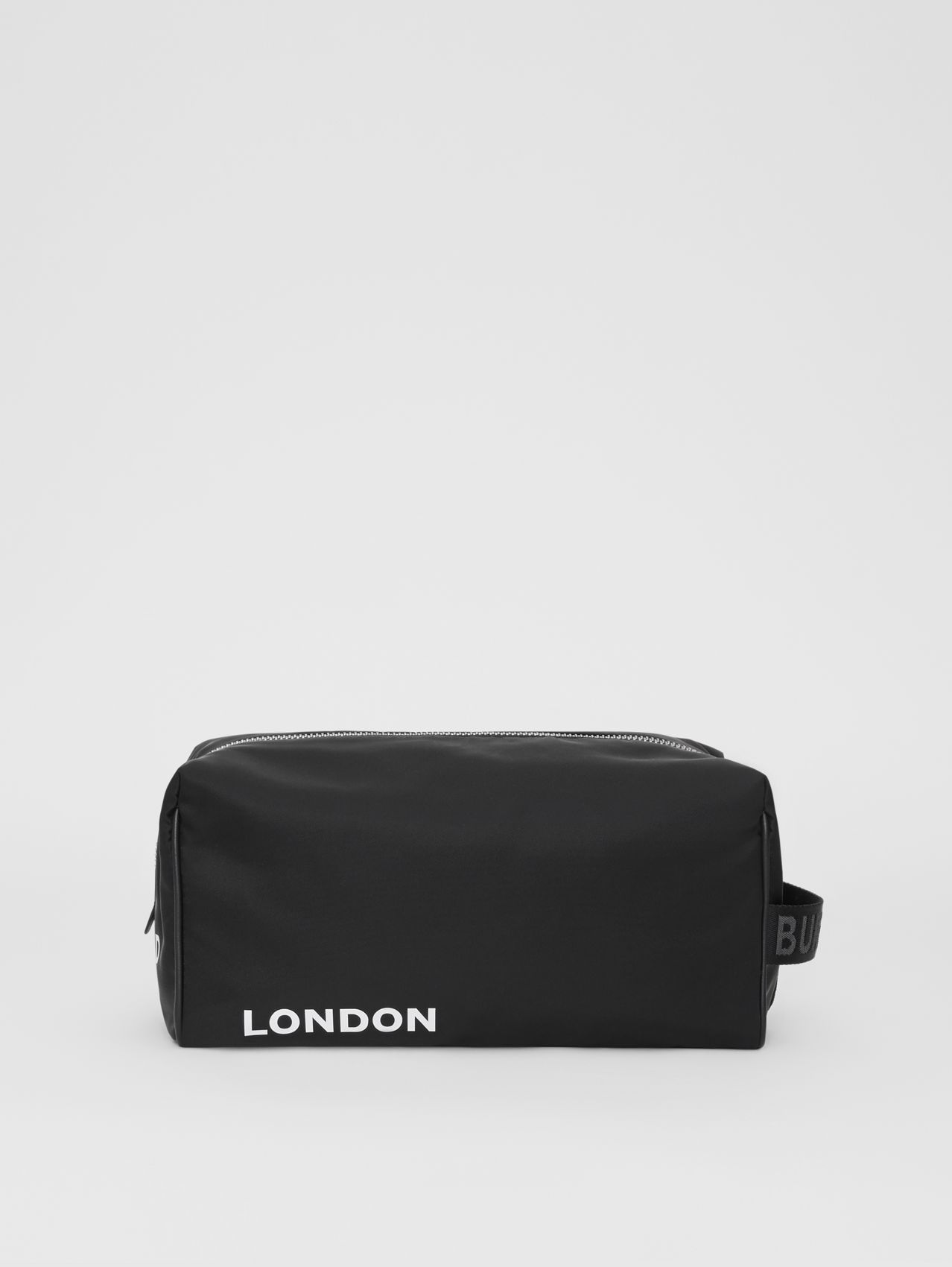 Horseferry Print Nylon Travel Pouch in Black/white
