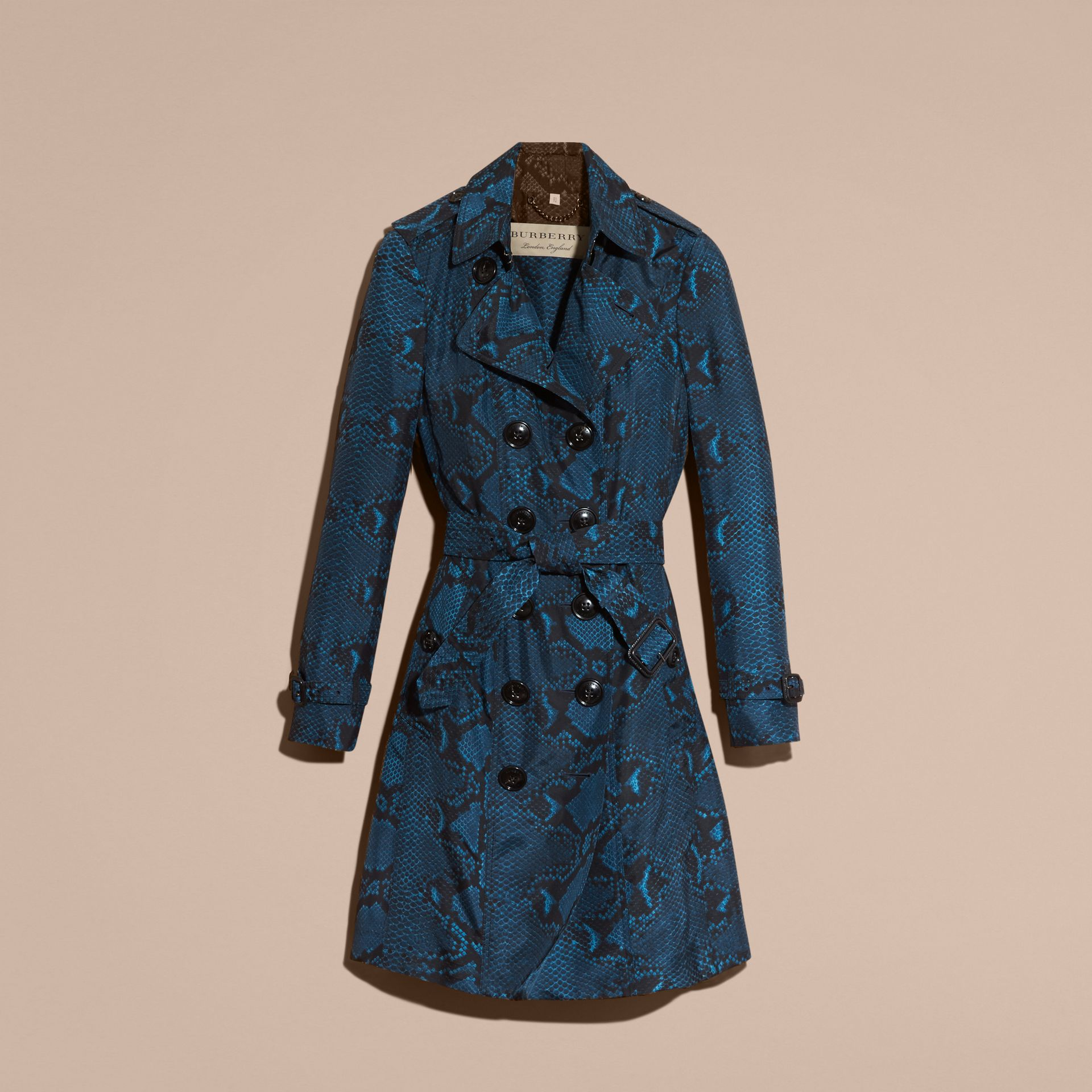 Mineral blue Python Print Silk Trench Coat Mineral Blue - gallery image 4