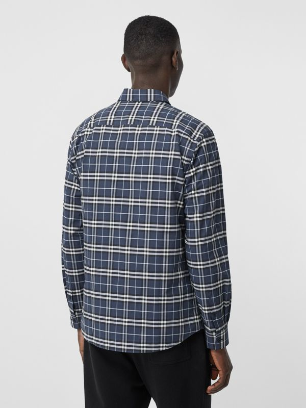 Small Scale Check Stretch Cotton Shirt in Dark Navy - Men | Burberry - cell image 2