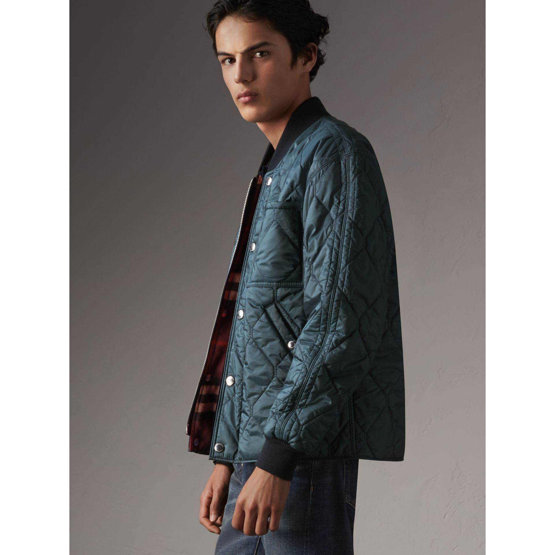 Quilted Bomber Jacket in Petrol Blue - Men | Burberry - gallery image 5