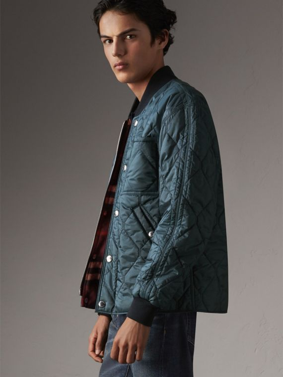 Quilted Bomber Jacket in Petrol Blue