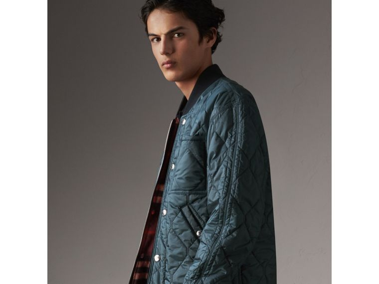 Quilted Bomber Jacket in Petrol Blue - Men | Burberry - cell image 4