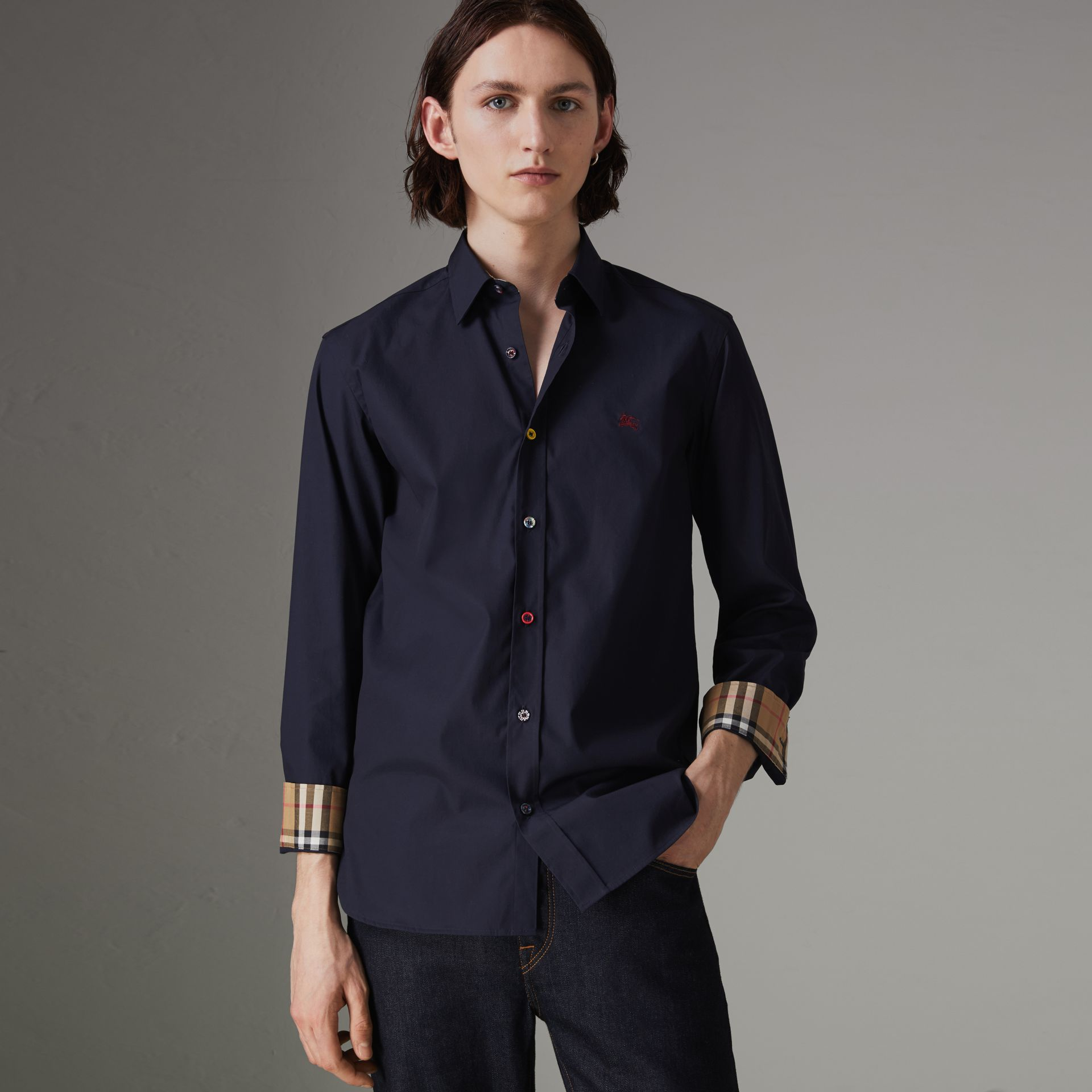 Contrast Button Stretch Cotton Shirt in Navy - Men | Burberry Canada - gallery image 0