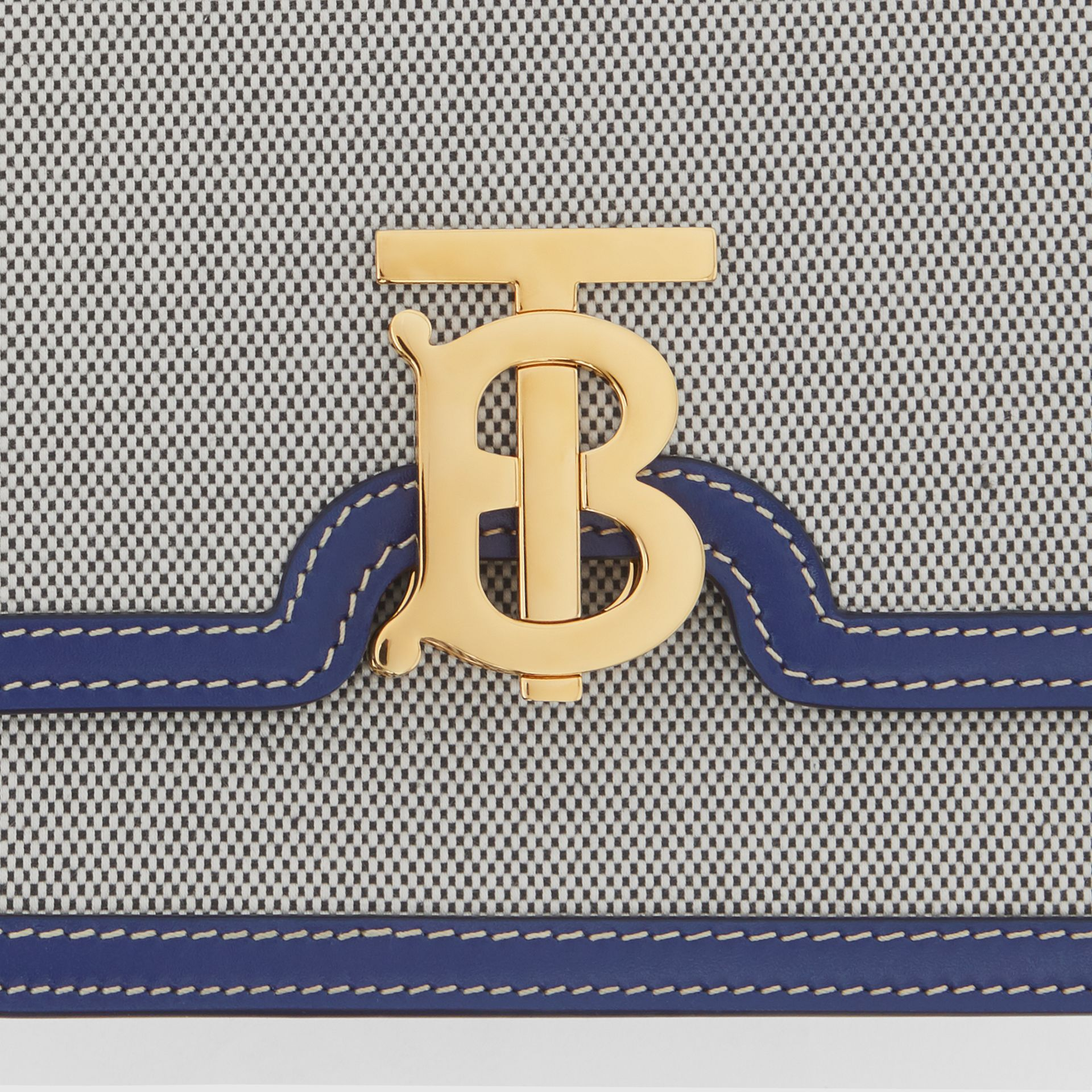 Small Two-tone Canvas and Leather TB Bag in Ink Navy - Women | Burberry - gallery image 1
