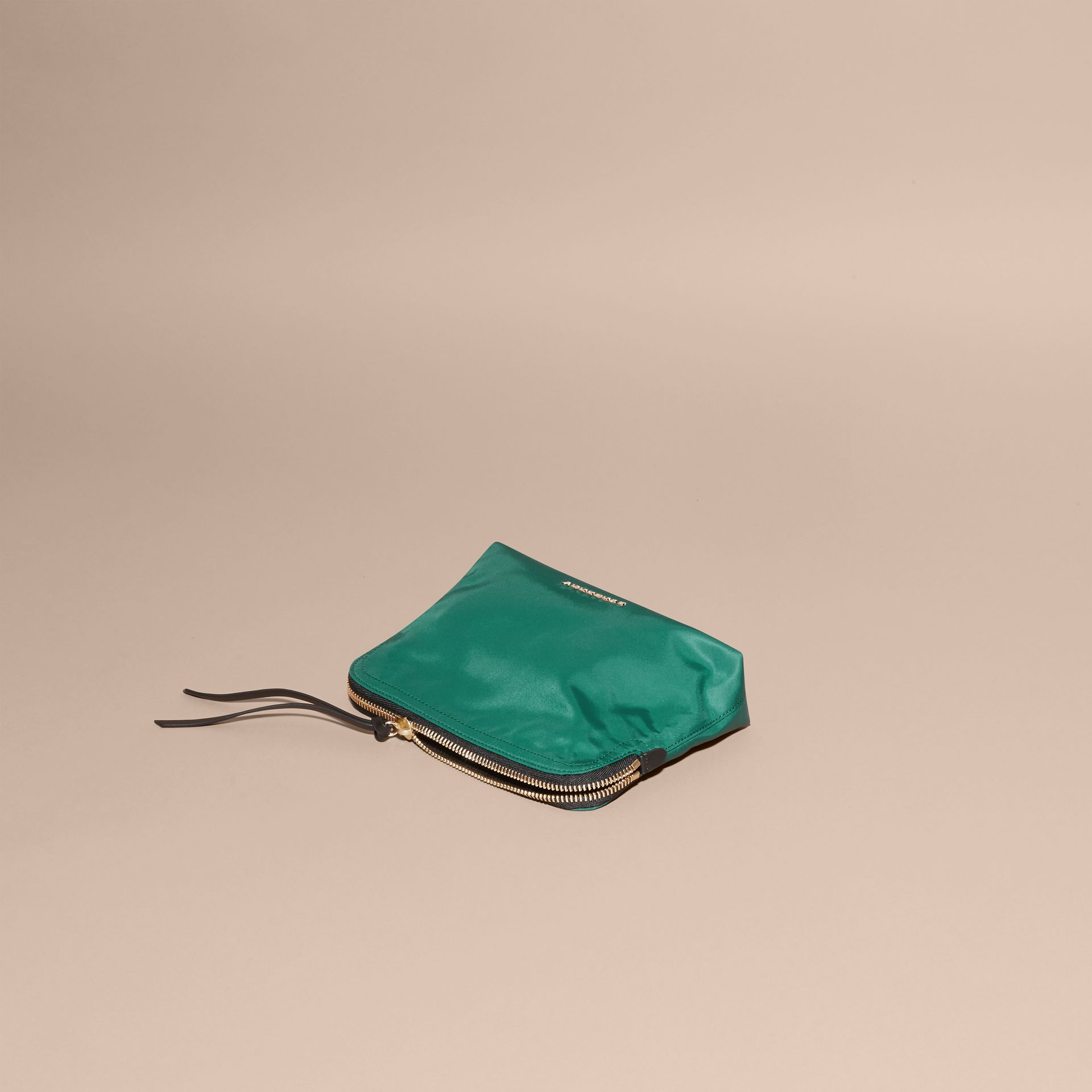 Pine green Zip-top Technical Nylon Pouch - gallery image 8