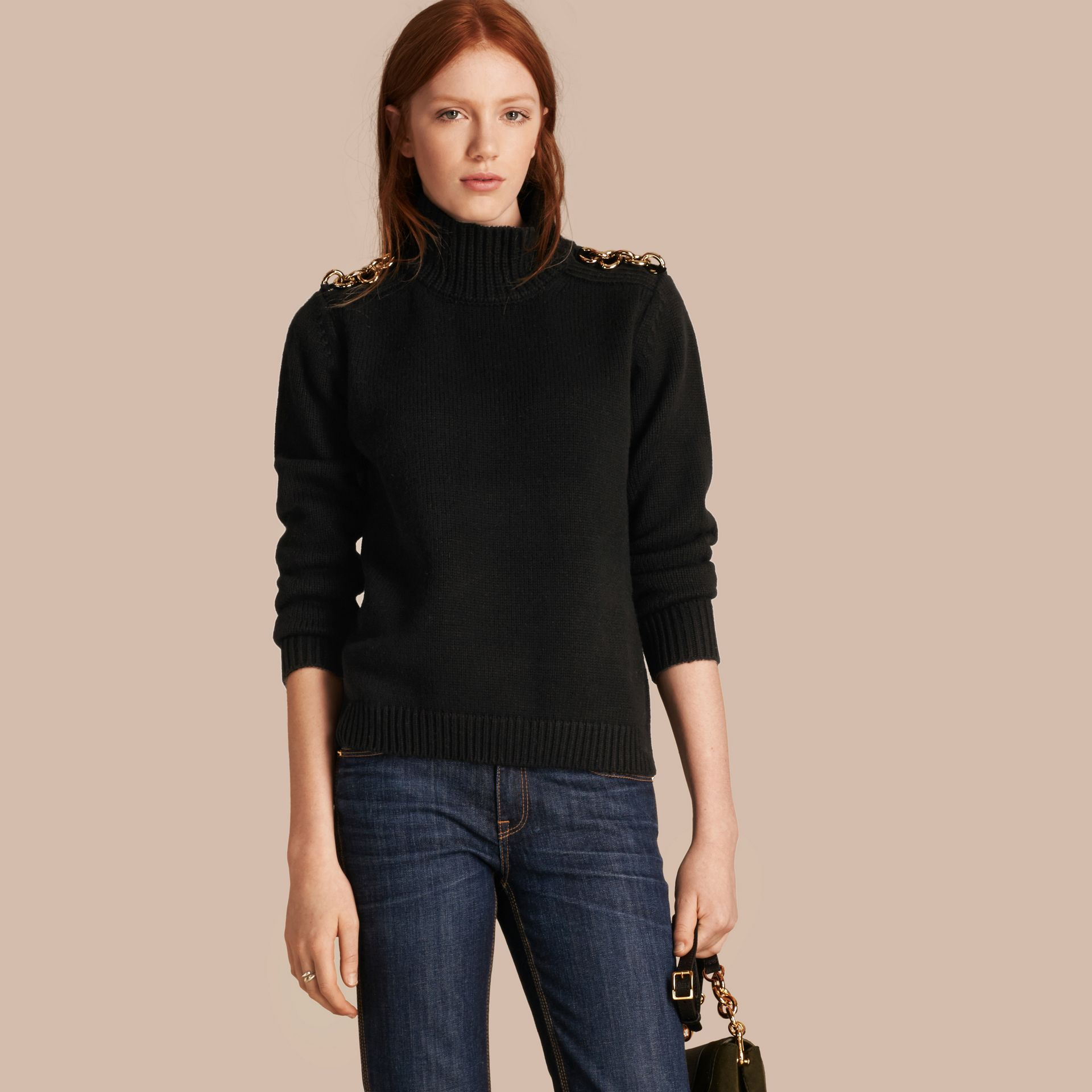 Black Regimental Detail Wool Cashmere High-neck Sweater - gallery image 1