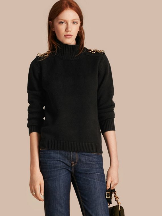 Regimental Detail Wool Cashmere High-neck Sweater