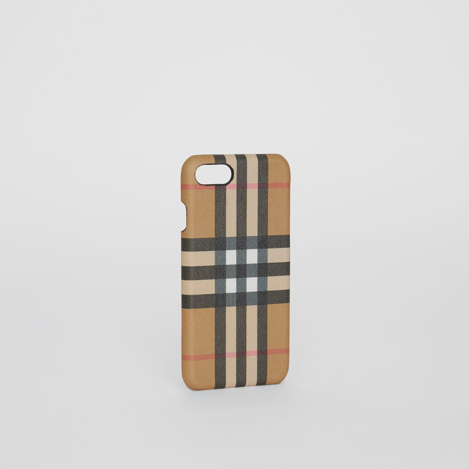 Custodia per iPhone 8 in pelle e motivo Vintage check (Nero) | Burberry - immagine della galleria 3