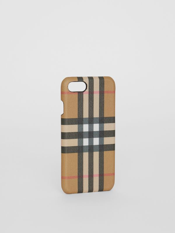 Vintage Check and Leather iPhone 8 Case in Black | Burberry Australia - cell image 3