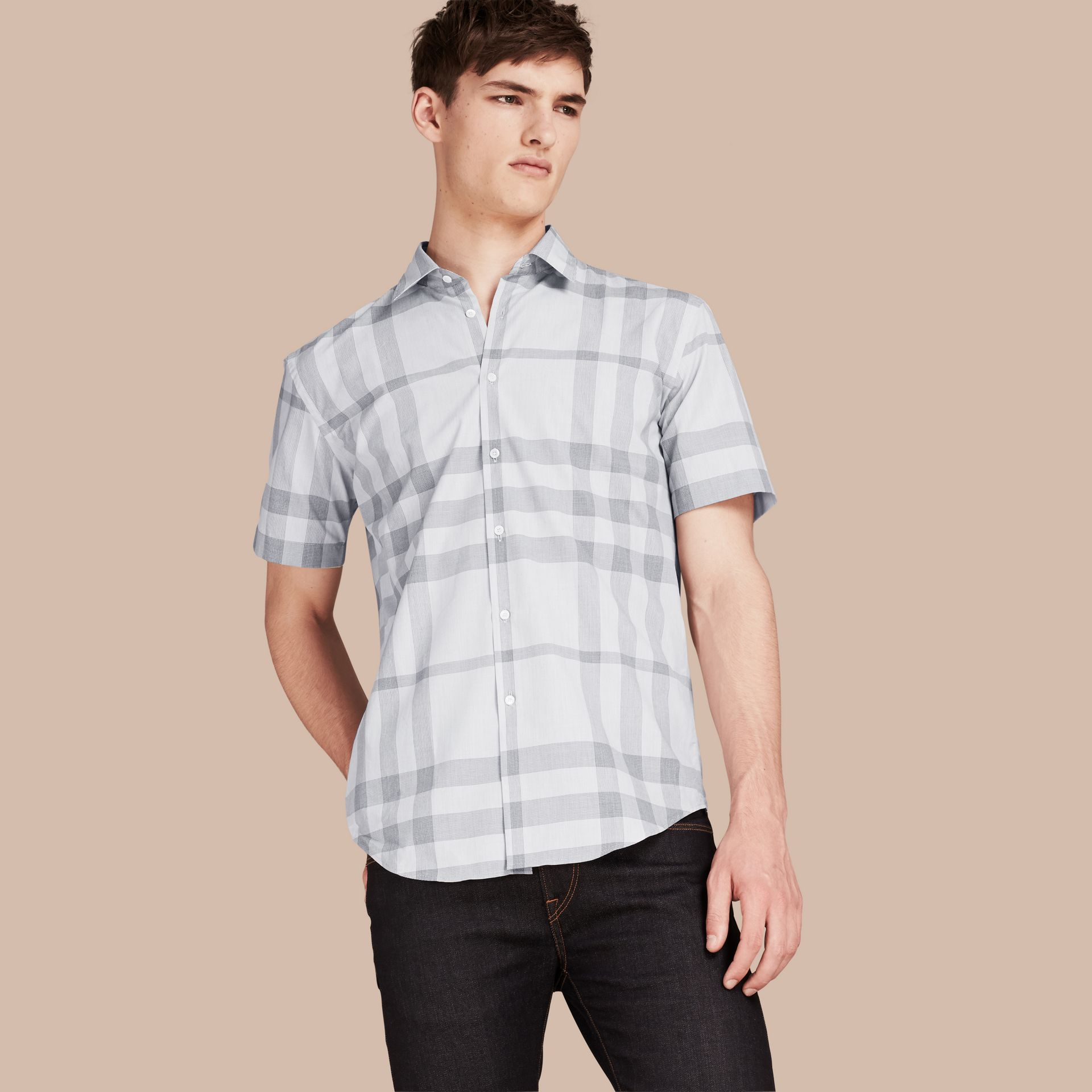 Pale grey Short-sleeved Check Cotton Shirt - gallery image 1