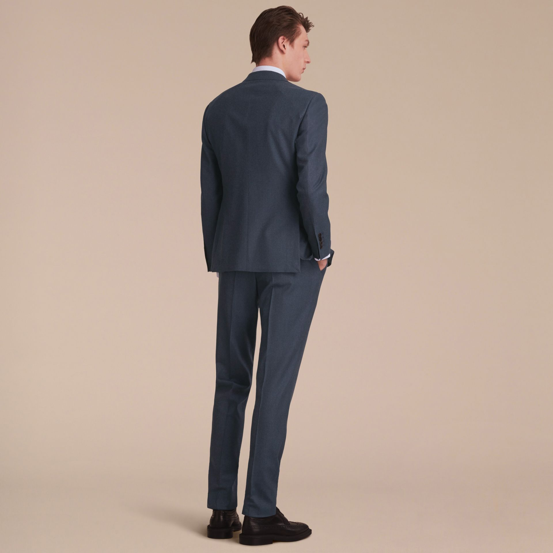 Soho Fit Wool Flannel Suit in Petrol Blue Melange - Men | Burberry - gallery image 3