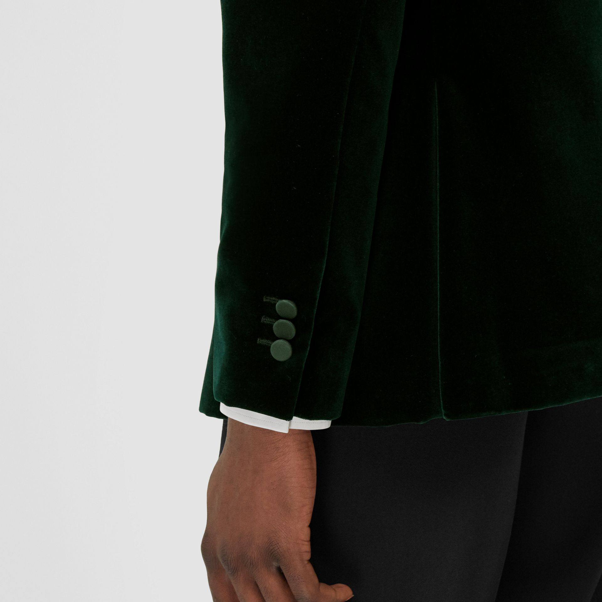 English Fit Silk Trim Velvet Tailored Jacket in Dark Pine Green - Men | Burberry Hong Kong S.A.R - gallery image 5