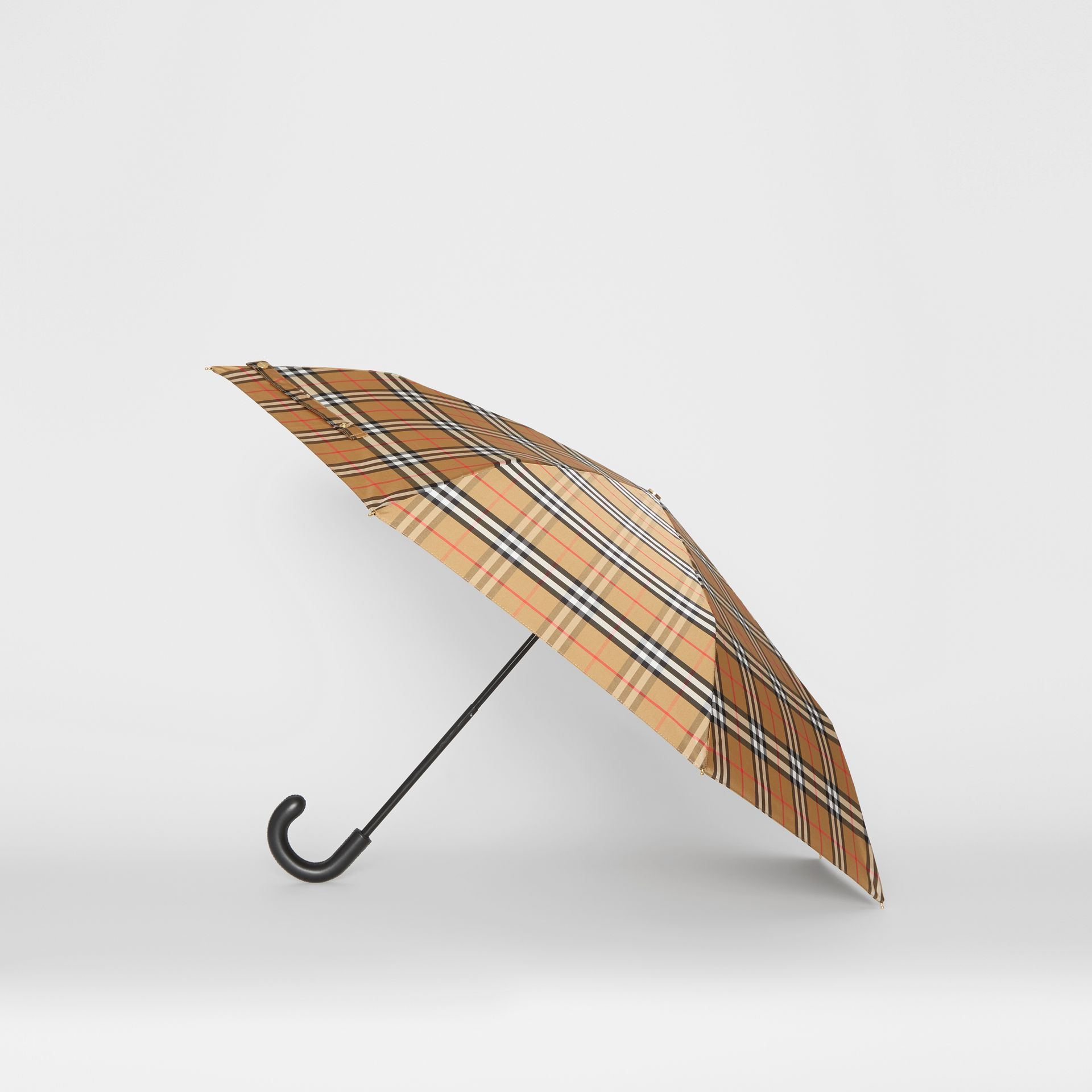 Vintage Check Folding Umbrella in Antique Yellow/black | Burberry - gallery image 3