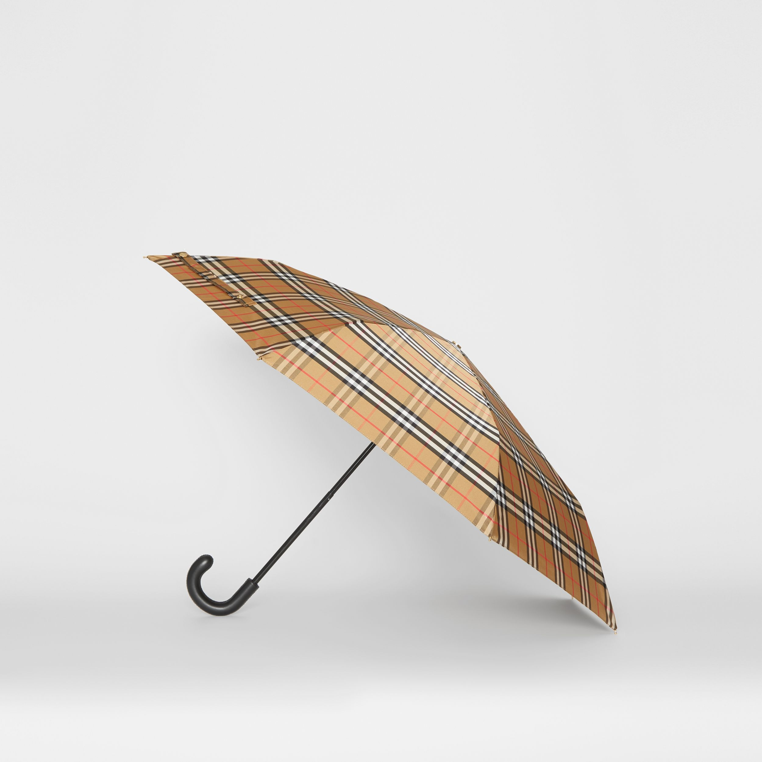 Vintage Check Folding Umbrella in Antique Yellow/black - Women | Burberry United Kingdom - 4
