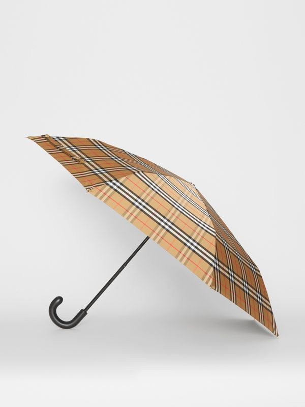 Vintage Check Folding Umbrella in Antique Yellow/black - Women | Burberry United States - cell image 3