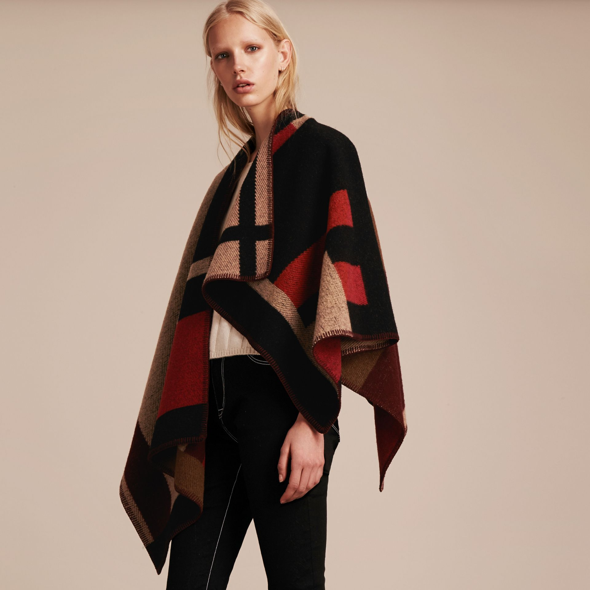 Camel Check Wool Cashmere Poncho - gallery image 8