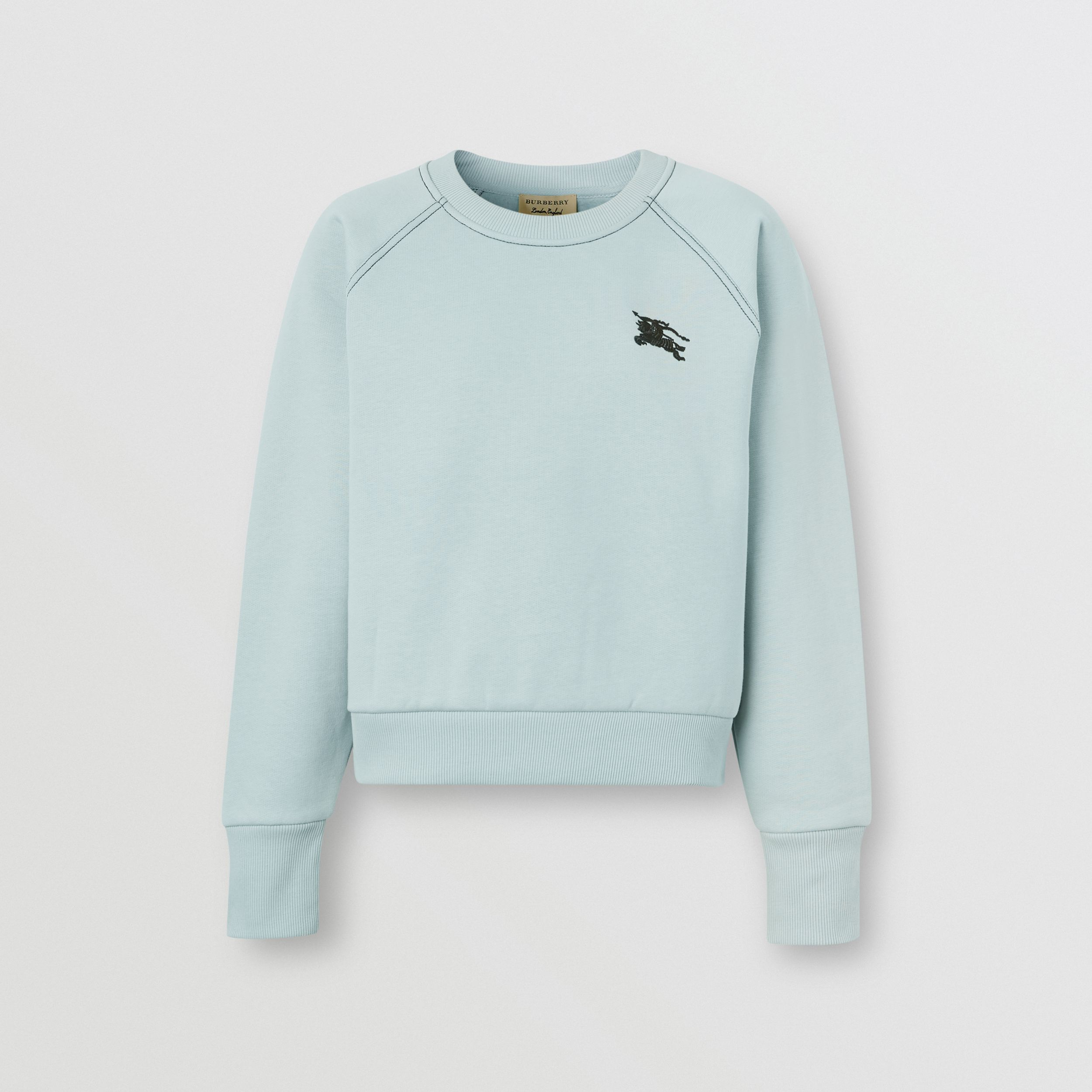 Embroidered EKD Jersey Sweatshirt in Pale Mineral Blue - Women | Burberry - 1