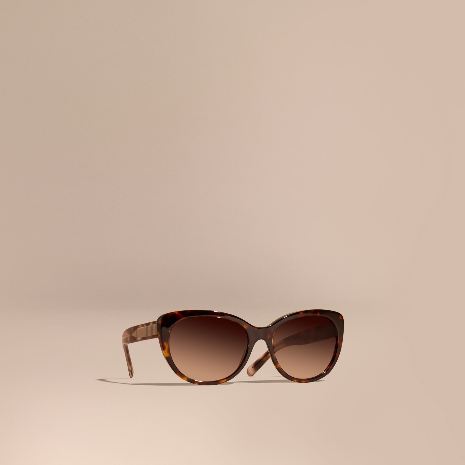 Check Detail Cat-eye Sunglasses in Light Russet Brown - Women | Burberry Canada - gallery image 0
