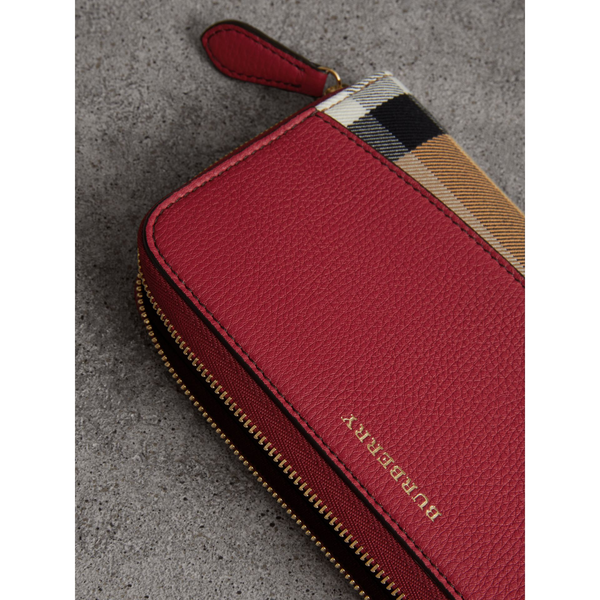 House Check and Leather Ziparound Wallet in Russet Red - Women | Burberry Australia - gallery image 1