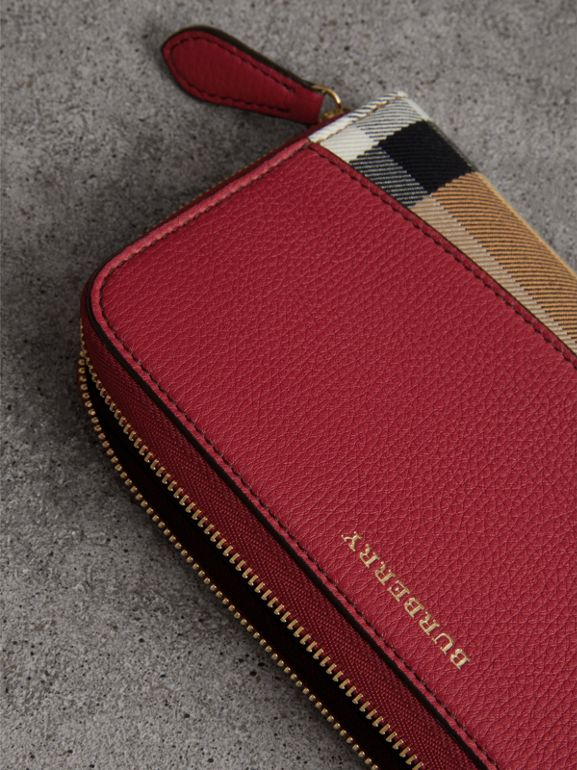 House Check and Leather Ziparound Wallet in Russet Red - Women | Burberry - cell image 1