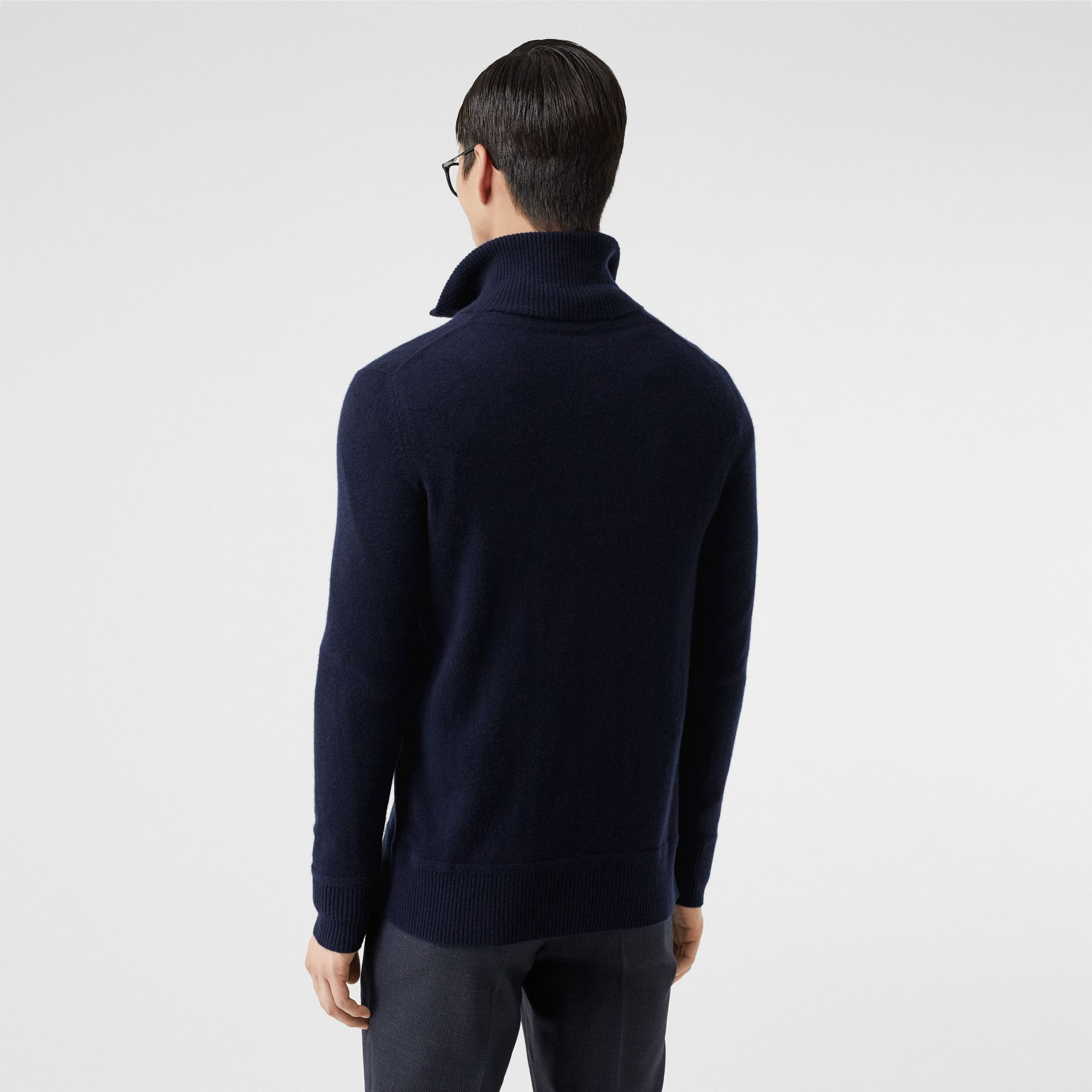 Monogram Motif Cashmere Funnel Neck Sweater in Navy - Men | Burberry Hong Kong S.A.R - gallery image 2