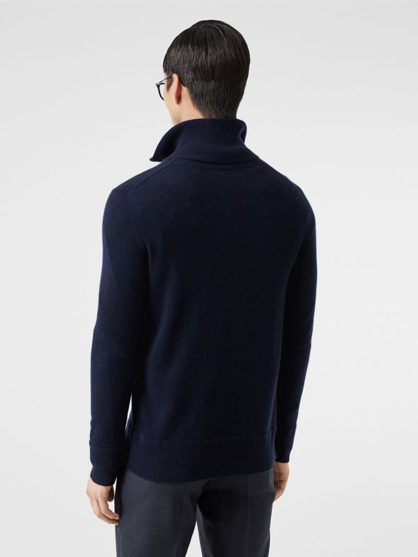 Monogram Motif Cashmere Funnel Neck Sweater in Navy - Men | Burberry Hong Kong S.A.R - cell image 2