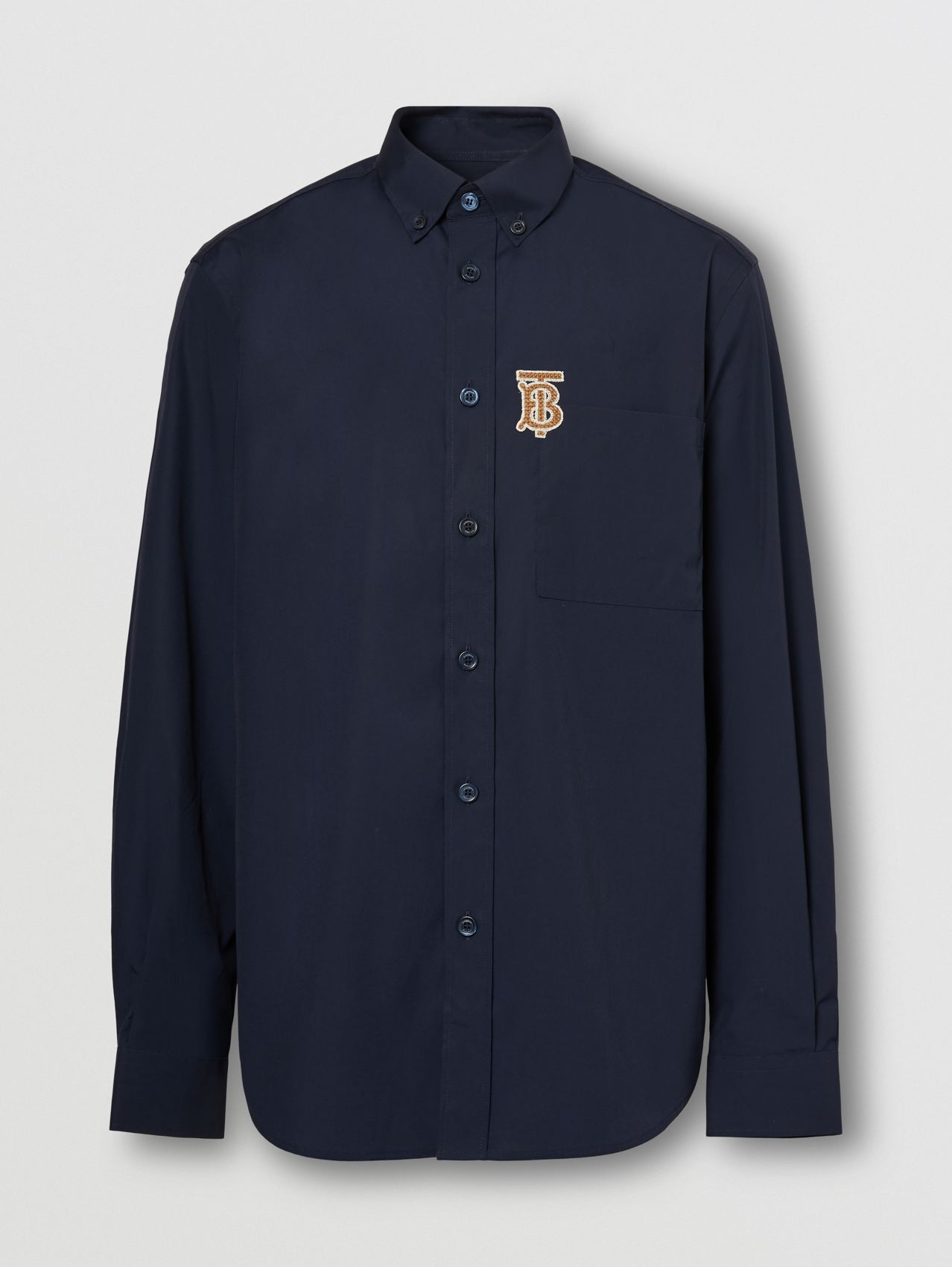 Monogrom Motif Stretch Cotton Poplin Shirt in Navy