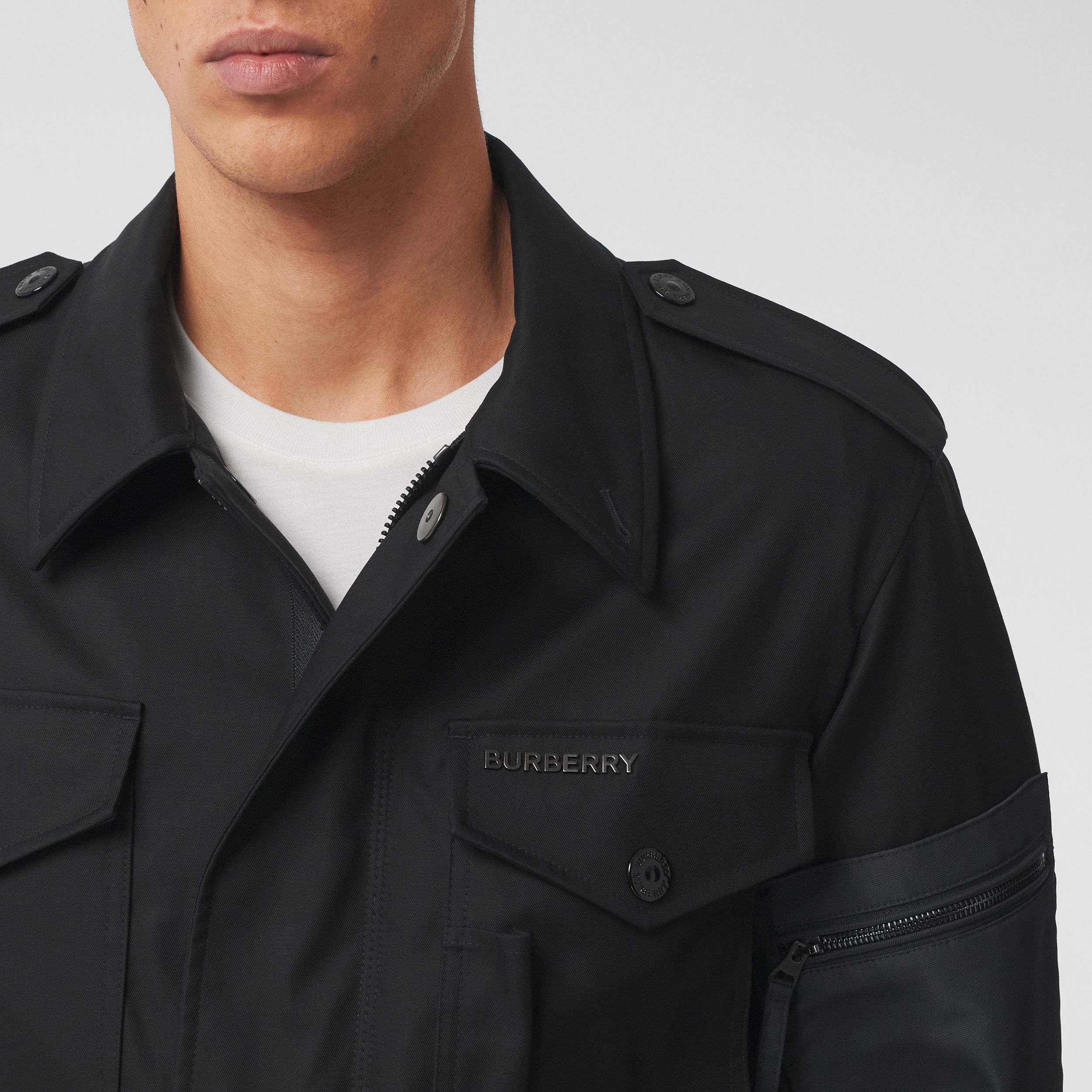 Contrast Pocket Cotton Gabardine Field Jacket in Black - Men | Burberry - 2