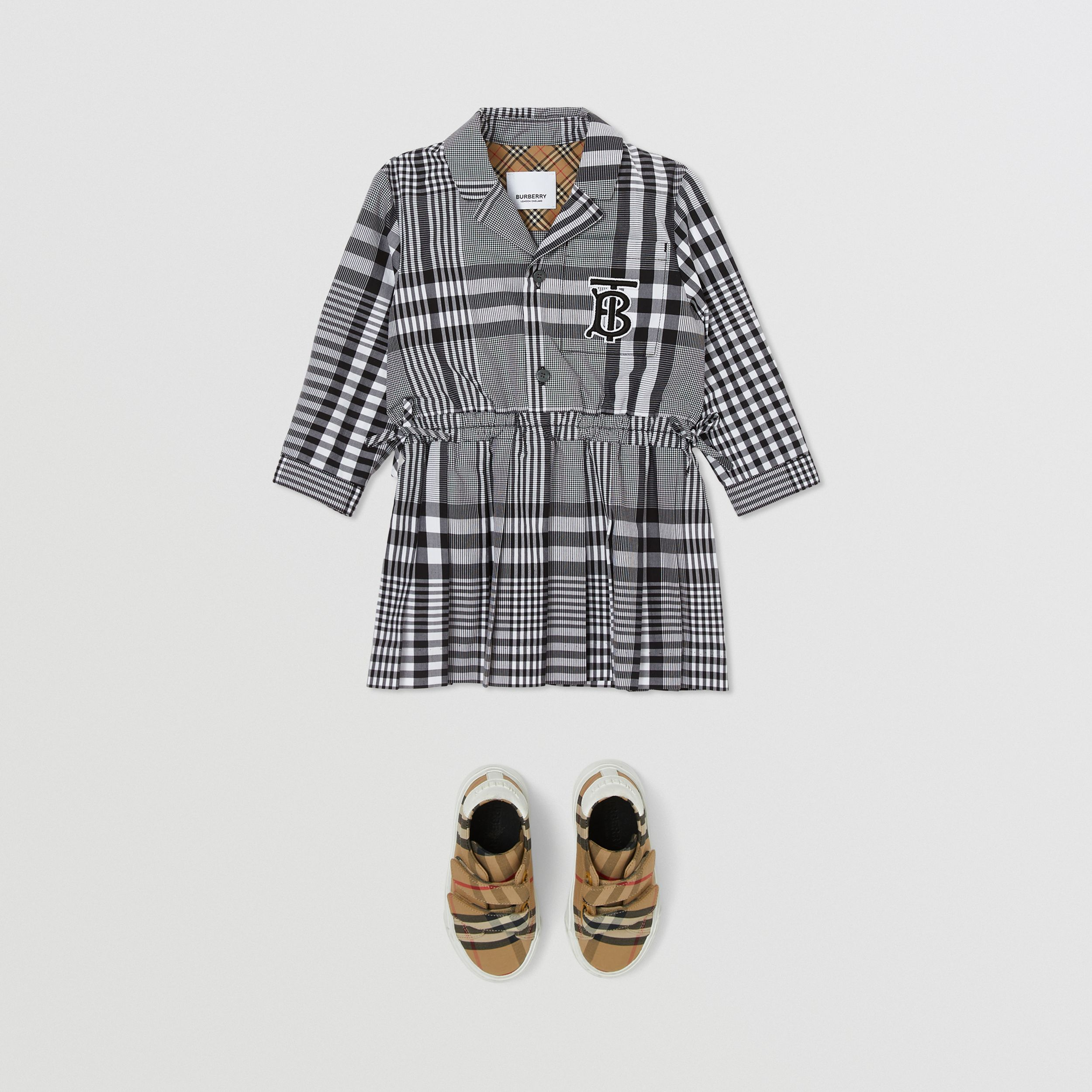 Long-sleeve Monogram Motif Check Cotton Dress in Black - Children | Burberry - 3