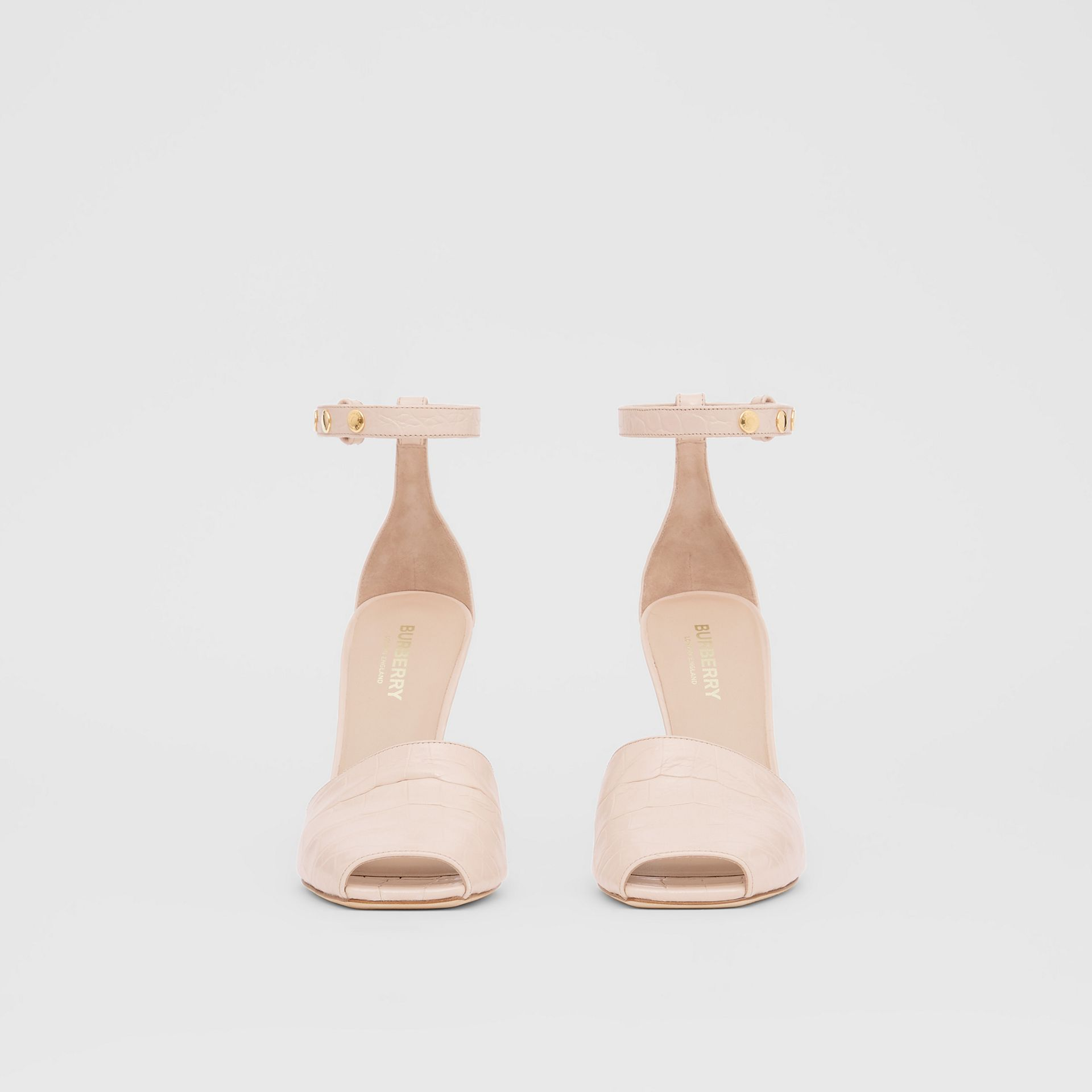 Triple Stud Embossed Leather Peep-toe Sandals in Rose Beige - Women | Burberry - gallery image 3