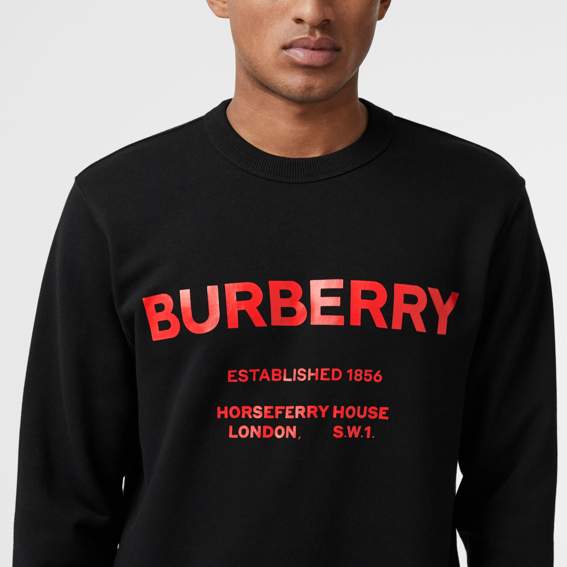 Horseferry Print Cotton Sweatshirt in Black - Men | Burberry - gallery image 1