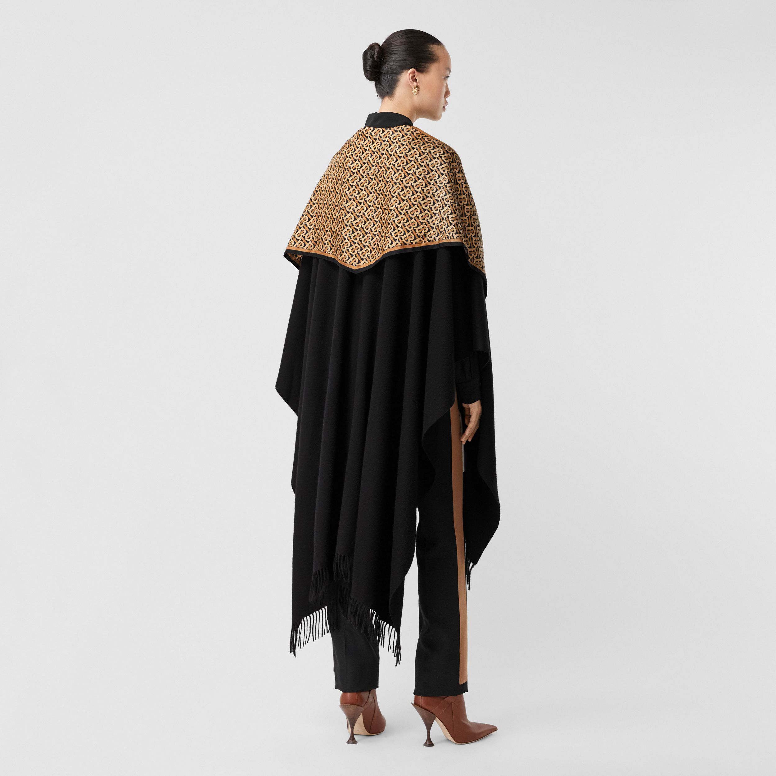 Detachable Monogram Print Scarf Cashmere Cape in Black - Women | Burberry - 3