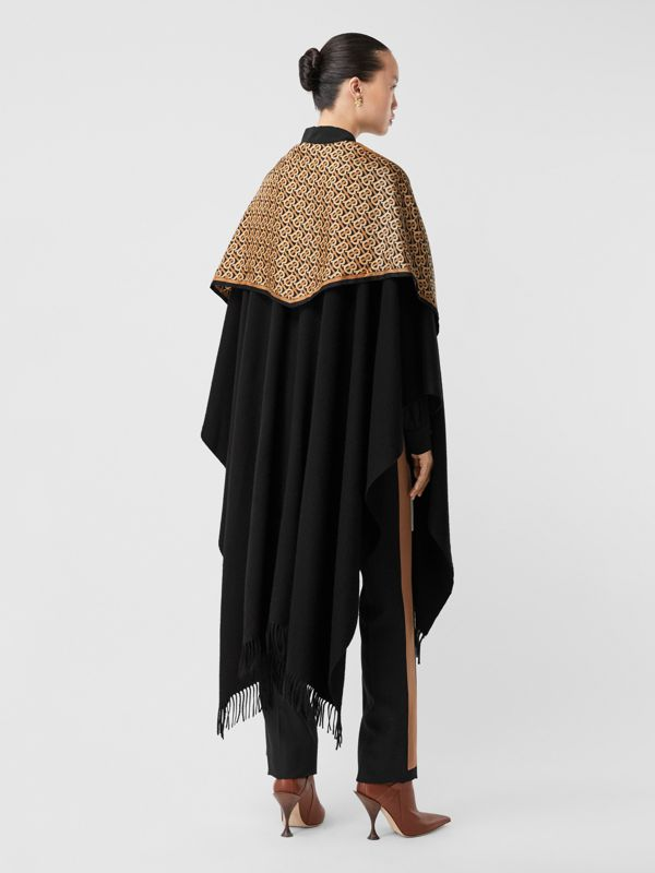 Detachable Monogram Print Scarf Cashmere Cape in Black - Women | Burberry - cell image 2