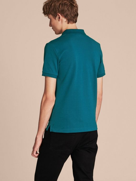 Check Placket Cotton Piqué Polo Shirt in Mineral Blue - cell image 2
