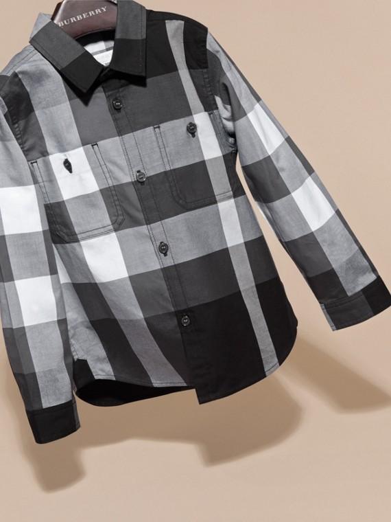 Noir Chemise en coton à motif check Noir - cell image 2