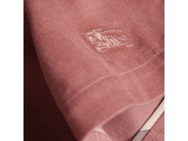 Gathered and Tie Waist Cotton Corduroy Dress in Rosewood - Girl | Burberry Hong Kong - cell image 1