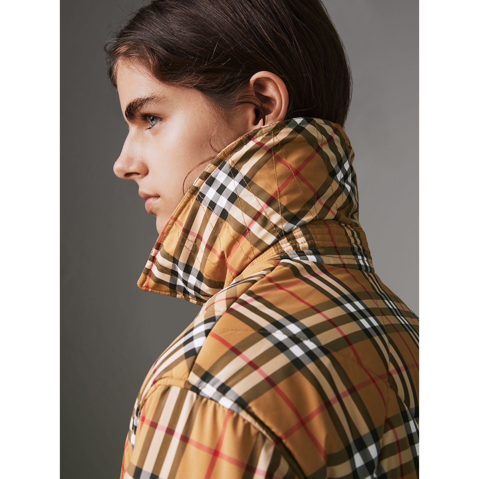 Vintage Check Diamond Quilted Jacket in Antique Yellow - Women | Burberry United Kingdom - gallery image 1