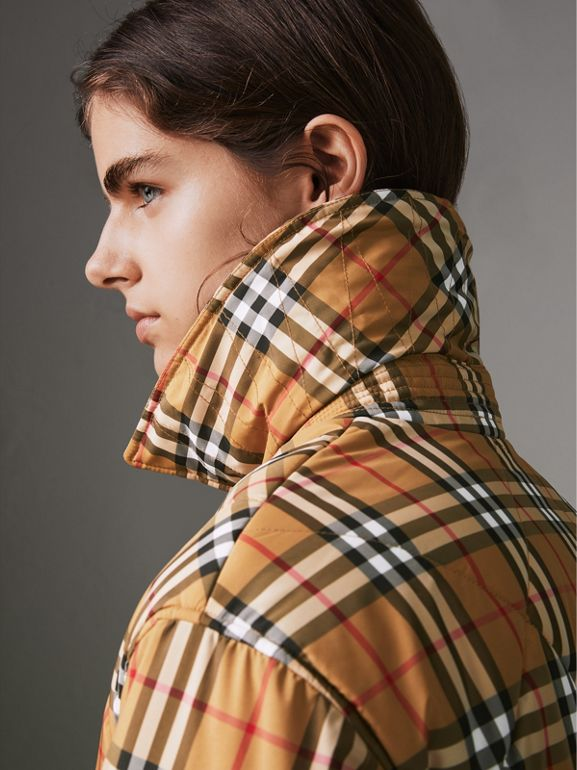 Vintage Check Diamond Quilted Jacket in Antique Yellow - Women | Burberry - cell image 1
