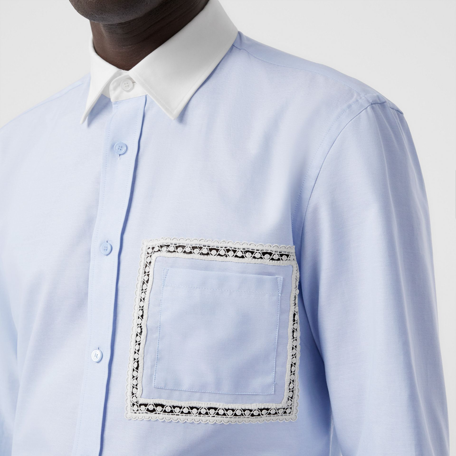 Classic Fit Lace Detail Cotton Oxford Shirt in Pale Blue | Burberry - gallery image 1