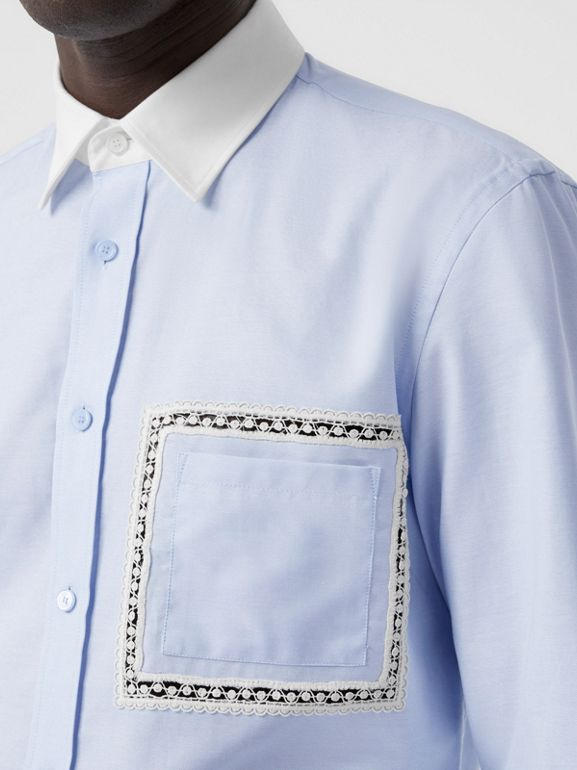 Classic Fit Lace Detail Cotton Oxford Shirt in Pale Blue | Burberry - cell image 1